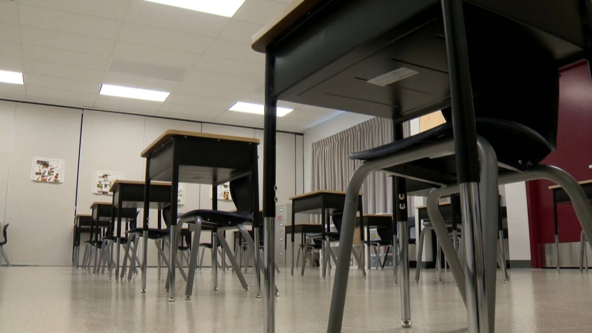 Desks are set up in a Calgary classroom ahead of the 2020 start to the school year.