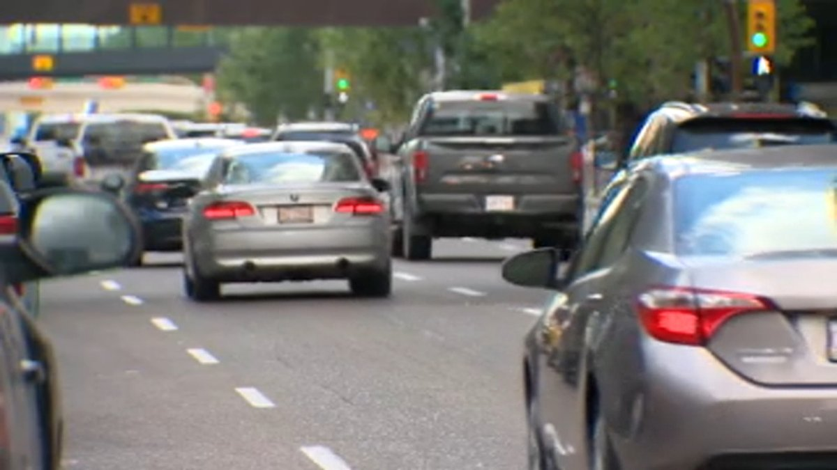 Vehicles drive through downtown Calgary. Speeding has been on the rise in the city since the start of the COVID-19 pandemic, new data from the Calgary Police Service shows.