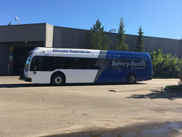 Edmonton's first electric bus hits the street on August 4, 2020.