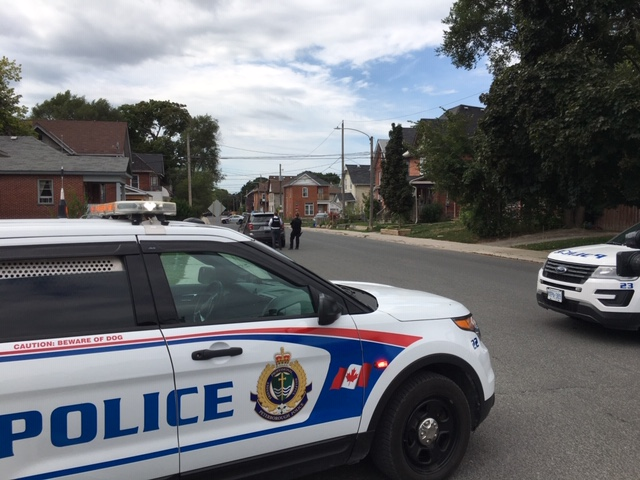 A heavy police presence in the area of Bethune Street in Peterborough on Thursday afternoon.