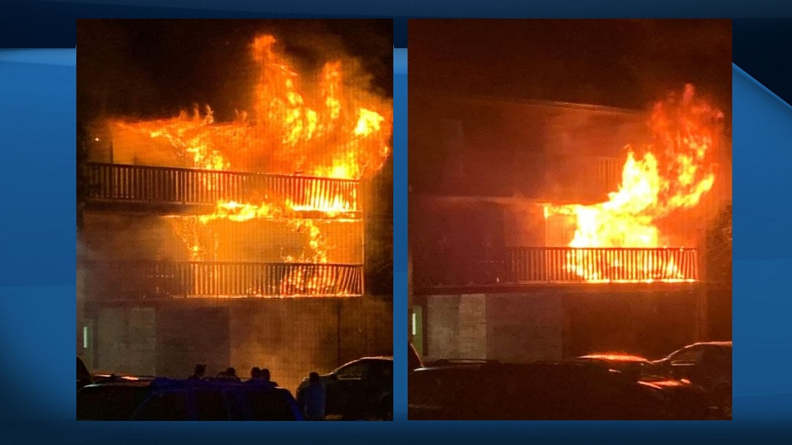 A photo of a fire at an apartment in Lloydminster on the evening of Friday, Aug. 28, 2020.