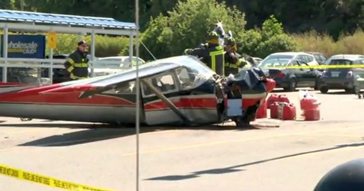 Small plane has crash landing in supermarket parking lot in Nelson, B.C.