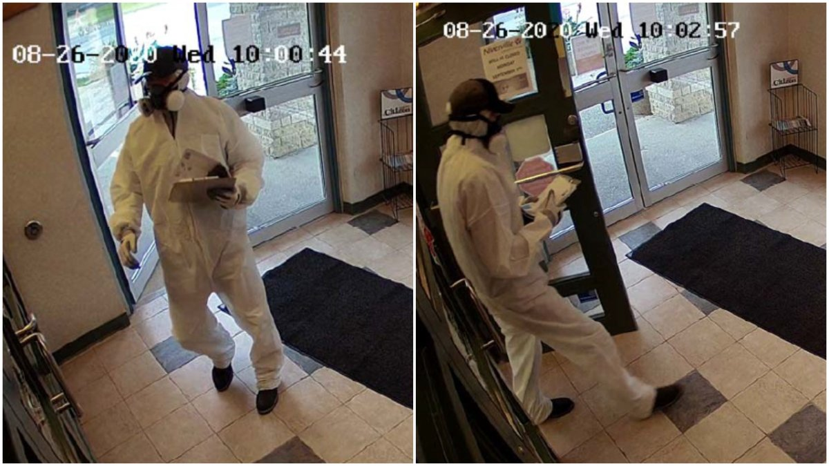 RCMP are looking for a man who robbed a bank in Landmark, Man. Wednesday.