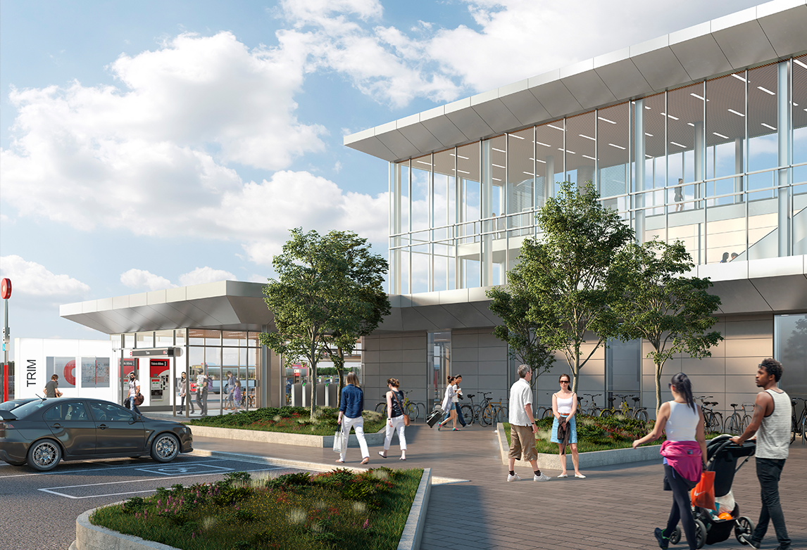 A rendering of the Trim Road LRT Station, the eastern terminus of Ottawa's Stage 2 light-rail transit extension.
