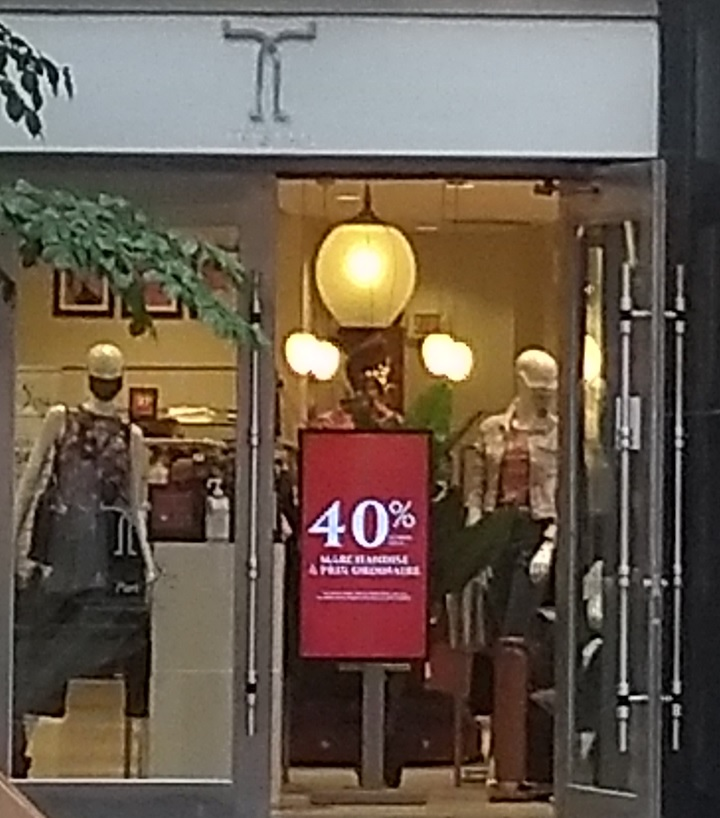 A Tristan storefront on Ste-Catherine Street in Montreal shows in-store discounts. Tuesday, Aug. 8, 2020.