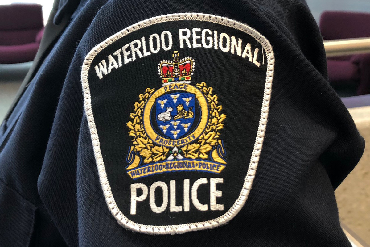 The crest on a Waterloo Regional Police officer's sleeve.