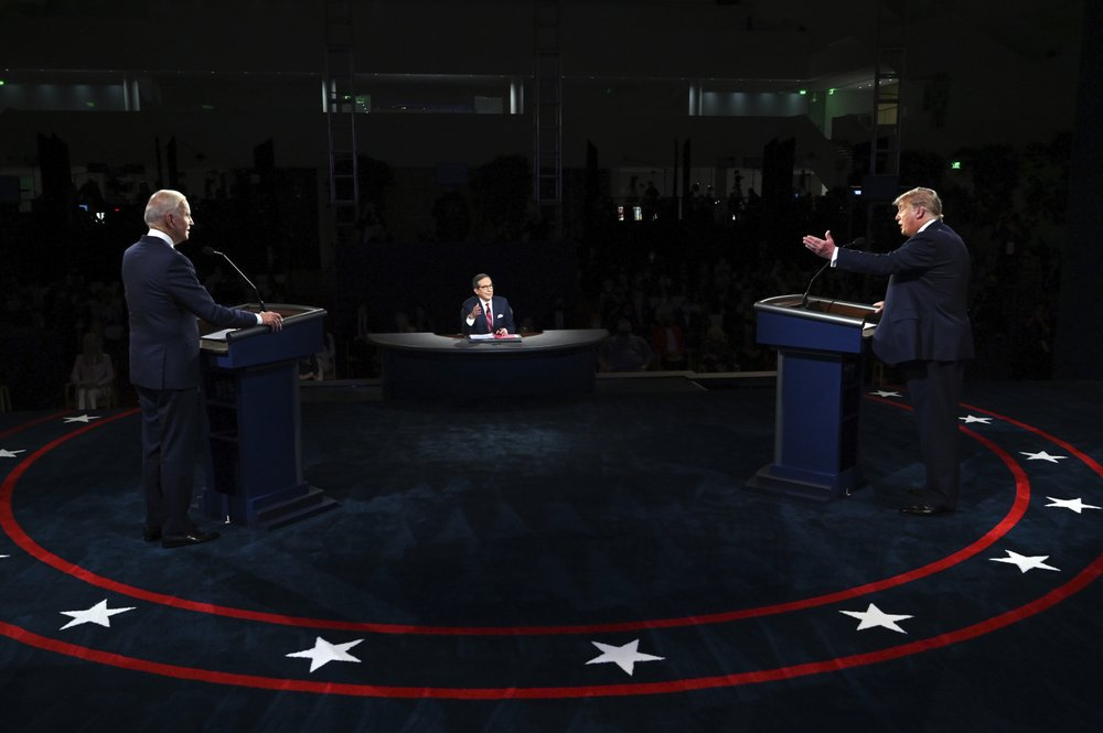 President Donald Trump and Democratic presidential candidate former Vice President Joe Biden participate in the first presidential debate Tuesday, Sept. 29, 2020, at Case Western University and Cleveland Clinic, in Cleveland, Ohio.