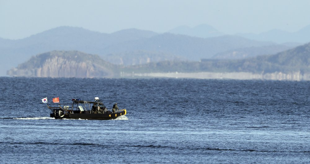 A South Korean marine boat patrols near Yeonpyeong island, South Korea, Sunday, Sept. 27, 2020. North Korea accused South Korea of sending ships across the disputed sea boundary to find the body of a man recently killed by North Korean troops, warning Sunday the alleged intrusion could escalate tensions.