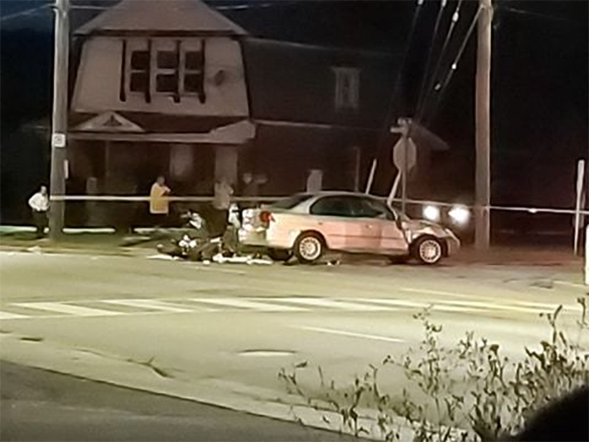 Emergency crews responded to the scene at Hamilton Road and Elm Street Monday night.