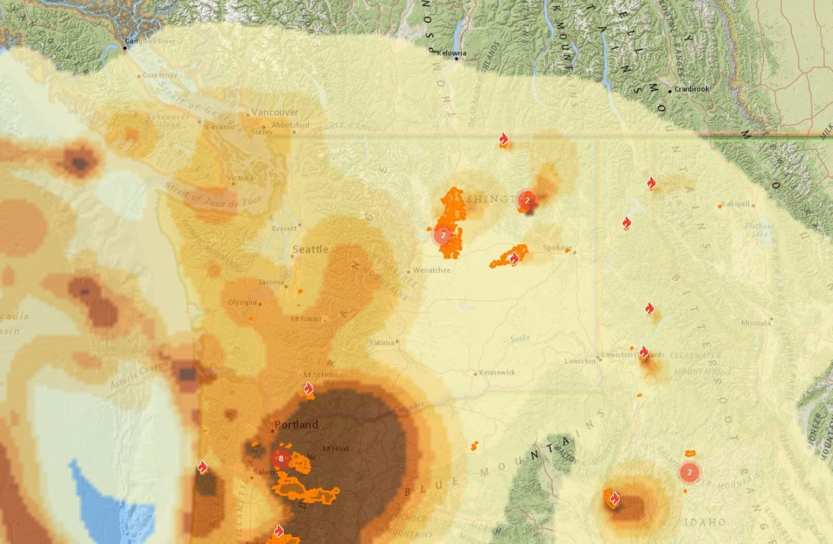 A screenshot of wildfire smoke projection for 12 a.m. on Saturday, Sept. 12, 2020.