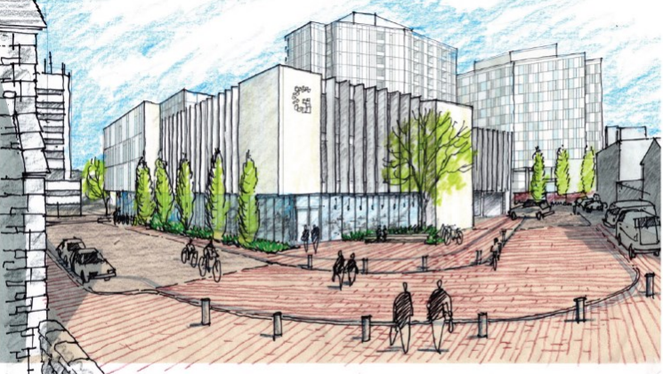 Designs show the new library plans for Guelph's Baker District redevelopment.