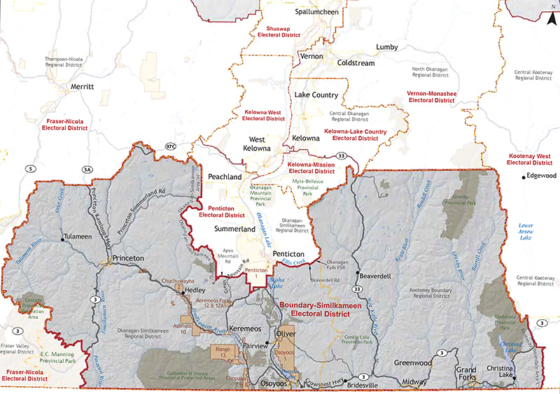 A map showing the electoral district of Boundary-Similkameen.