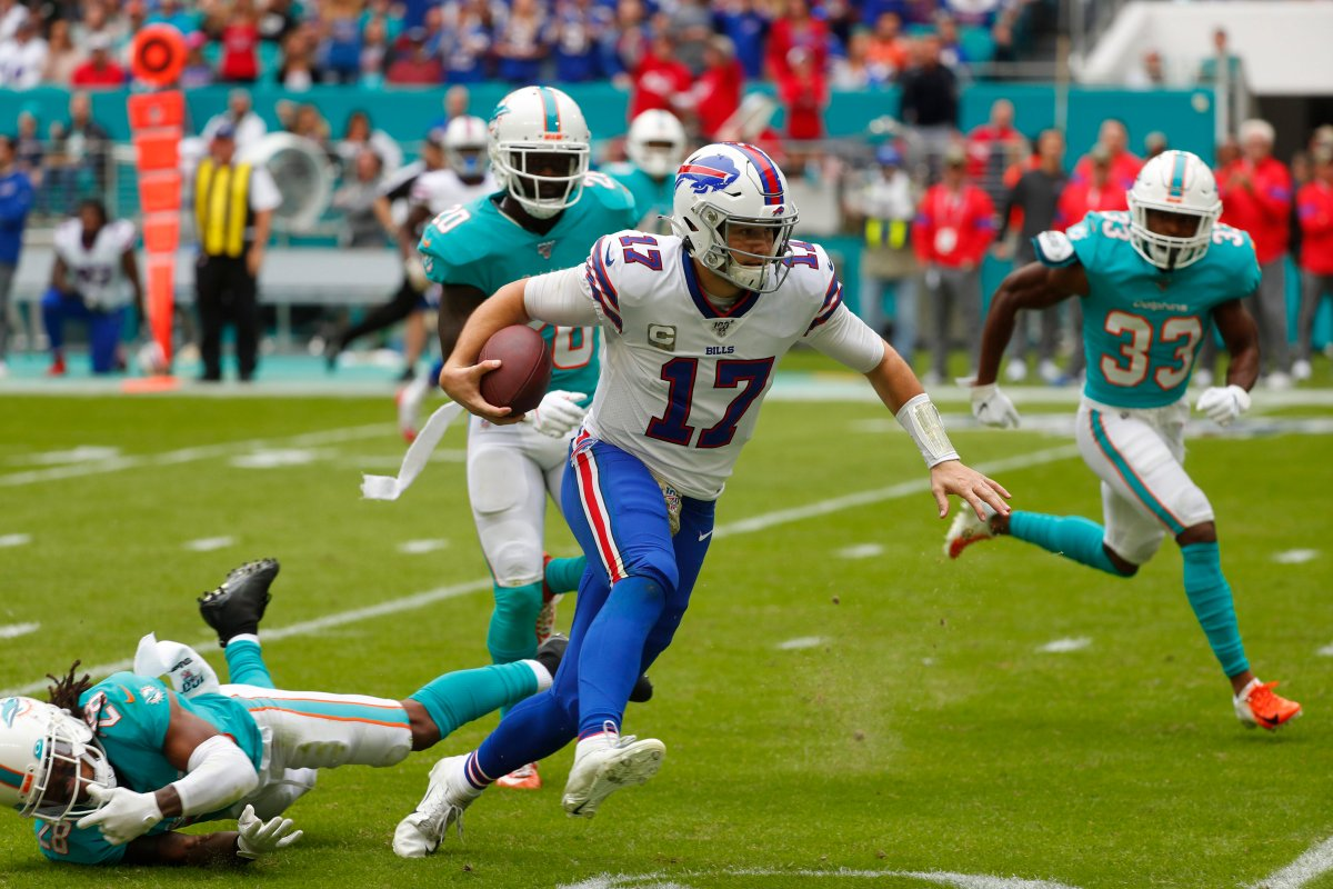 Buffalo Bills quarterback Josh Allen (17) scrambles for yards, during the first half at an NFL football game against the Miami Dolphins, Sunday, Nov. 17, 2019, in Miami Gardens, Fla.