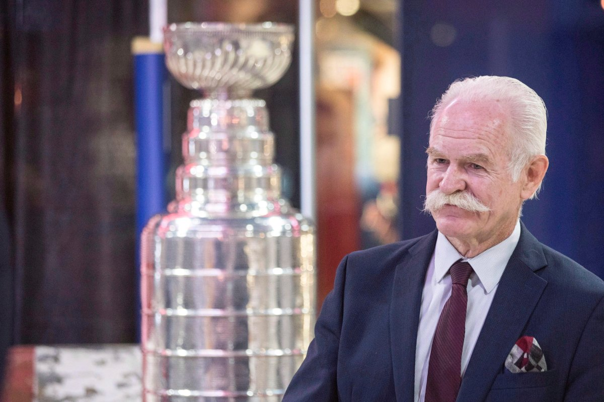 Hockey Hall of Fame chairman Lanny McDonald is pictured near the Stanley Cup on Tuesday, June 27, 2017.