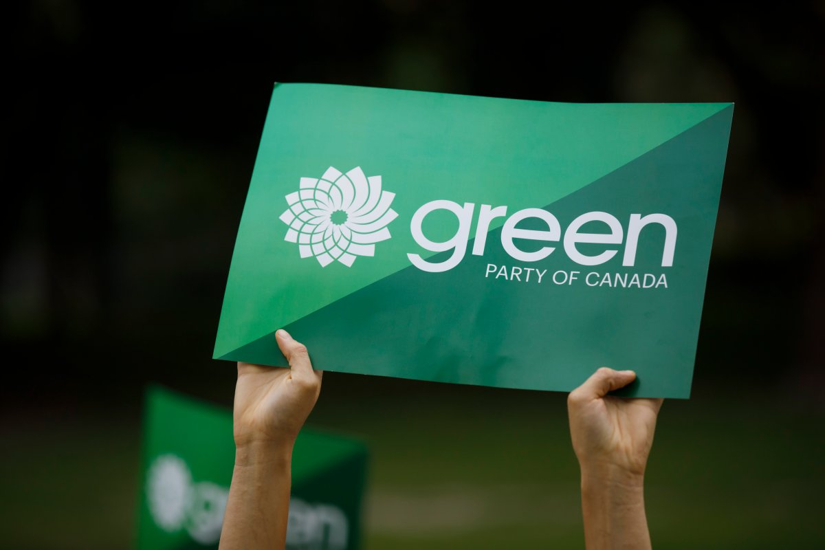 A supporter holds a sign for the Green Party of Canada in a Tuesday, Sept. 3, 2019, file photo.