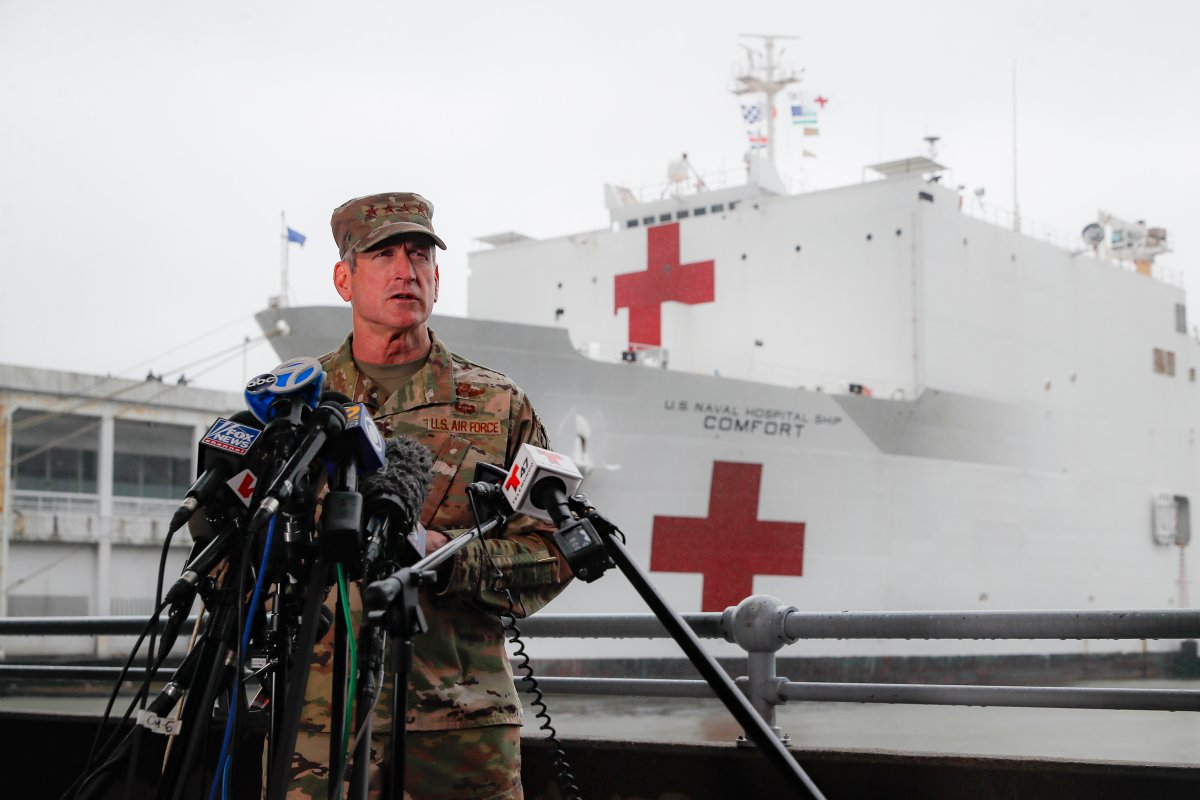 United States Air Force General Terrence O'Shaughnessy, commander of the United States Northern Command, speaks to reporters before the departure of the USNS Naval Hospital Ship Comfort, Thursday, April 30, 2020, in the Manhattan borough of New York.