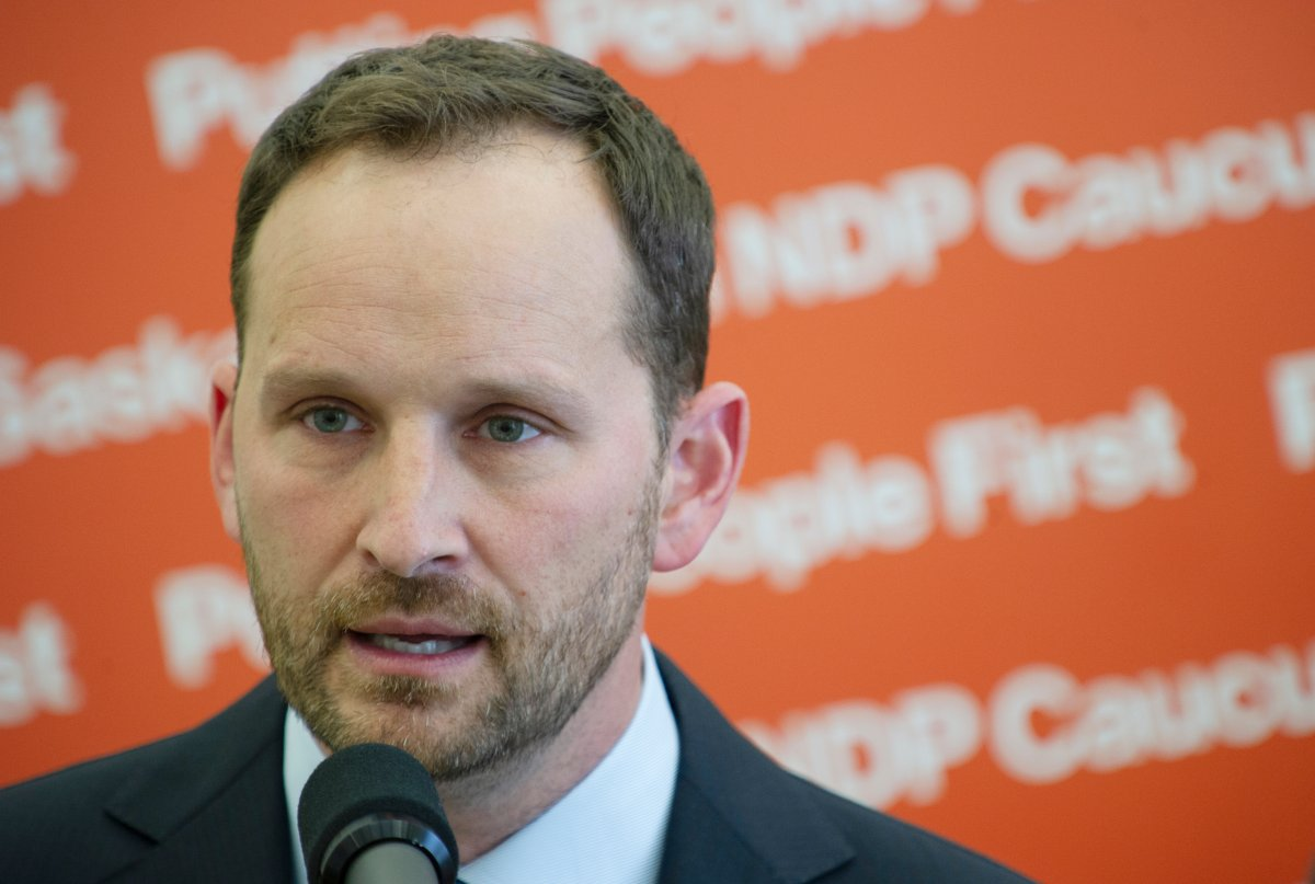 Saskatchewan NDP Leader Ryan Meili takes questions from reporters before the province's budget release and a mini-sitting at Saskatchewan's Legislative Building in Regina on Monday, June 15, 2020.