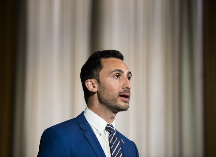 Ontario Education Minister Stephen Lecce speaks during the daily update on COVID-19 at Queen's Park in Toronto on Tuesday, June 9, 2020.