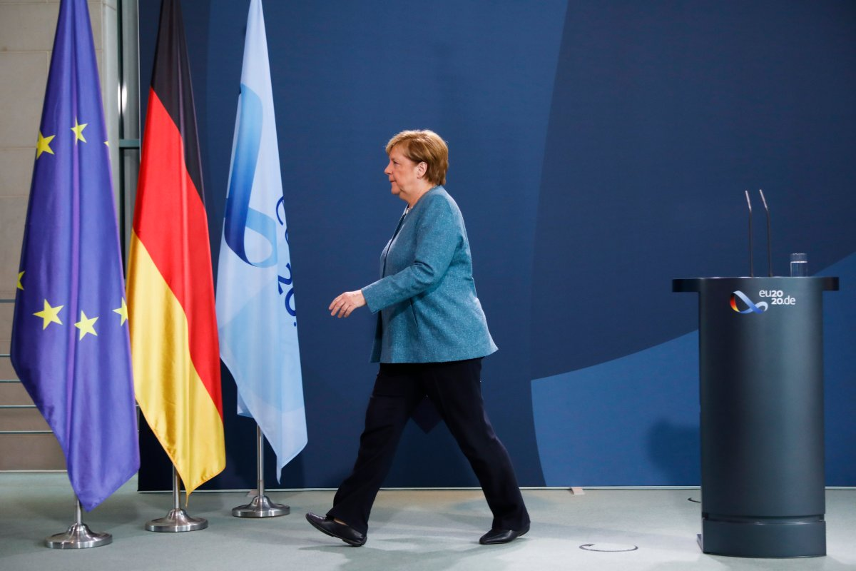 German Chancellor Angela Merkel leaves after a statement about latest developments in the case of Russian opposition leader Alexei Navalny at the chancellery in Berlin, Germany, Wednesday, Sept. 2, 2020.