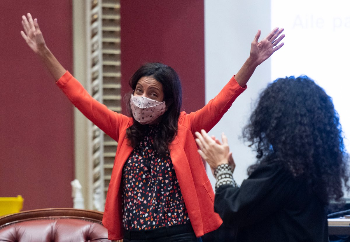 Quebec Liberal Leader Dominique Anglade  waves to members of her caucus as she arrives at a pre-session party caucus, Thursday, September 3, 2020  at the legislature in Quebec City.