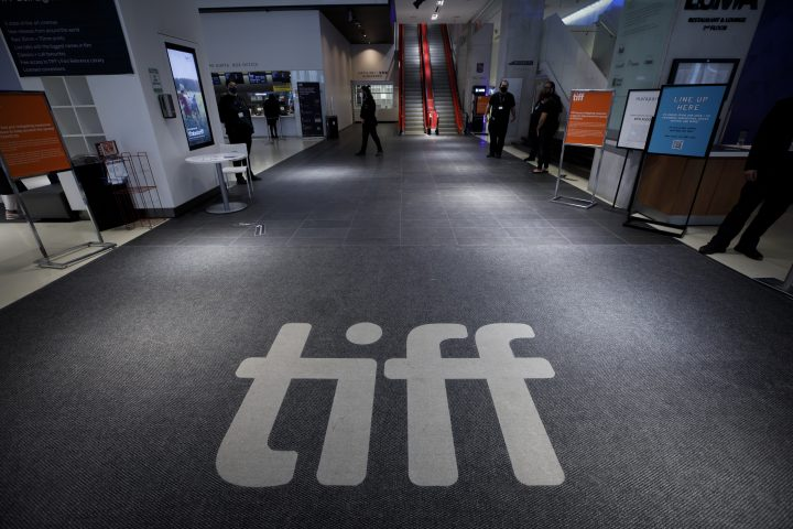 TIFF signage is pictured at Toronto International Film Festival's TIFF Bell Lightbox theatre on King St., in Toronto, ahead of the festival's opening night, Thursday, Sept. 10, 2020.