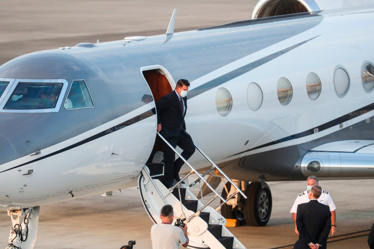 U.S. Under Secretary of State Keith Krach exits a plane upon arrival at the air force base airport in Taipei. Taiwan on Thursday, Sept. 17, 2020.