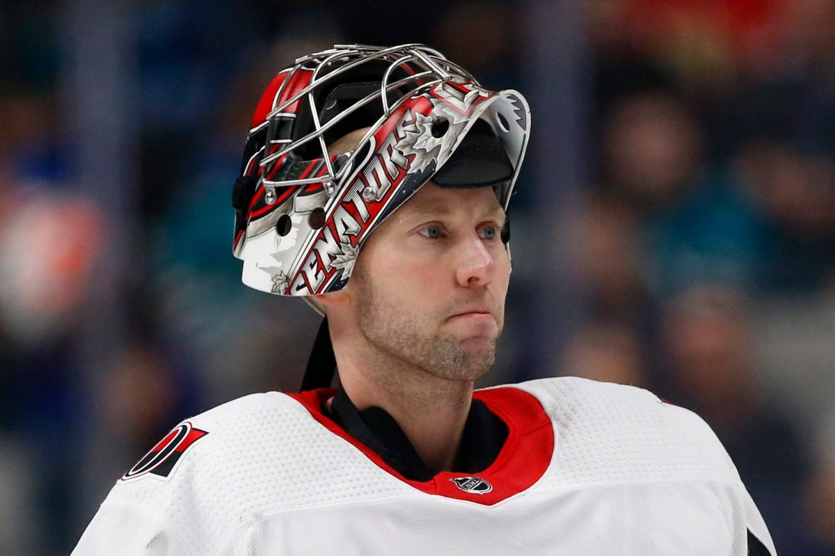 Ottawa Senators goaltender Craig Anderson awaits resumption of play against the San Jose Sharks during the second period of an NHL hockey game in San Jose, Calif., Saturday, March 7, 2020. Ottawa general manager Pierre Dorion says longtime Senators goaltender Anderson will not be offered a new contract by the NHL club.