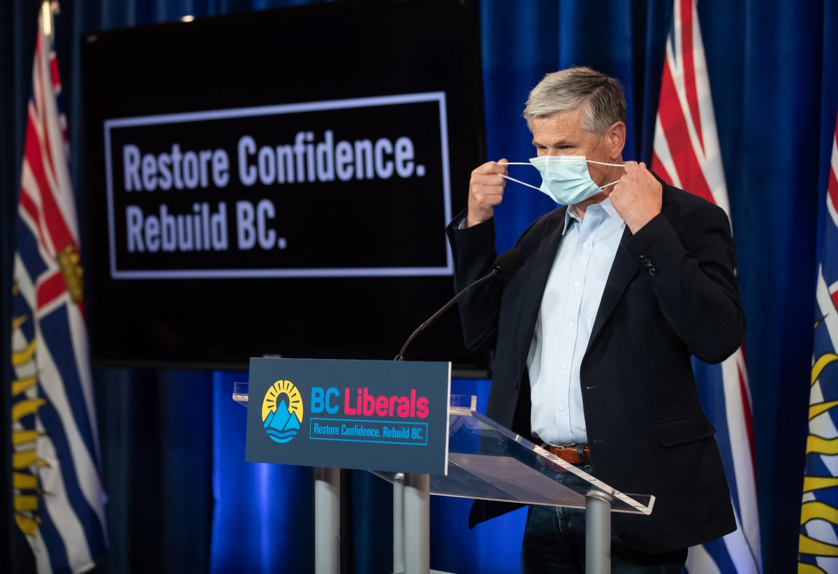 Liberal Leader Andrew Wilkinson removes his face mask before speaking during a campaign stop in Vancouver, on Saturday, September 26, 2020. A provincial election will be held in British Columbia on October 24. THE CANADIAN PRESS/Darryl Dyck.