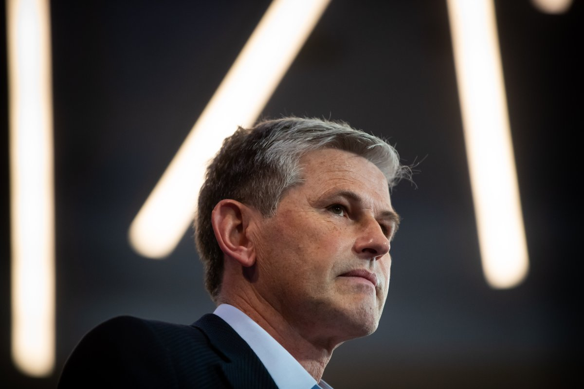Liberal Leader Andrew Wilkinson pauses while speaking during a campaign stop in Vancouver, on Saturday, September 26, 2020.
