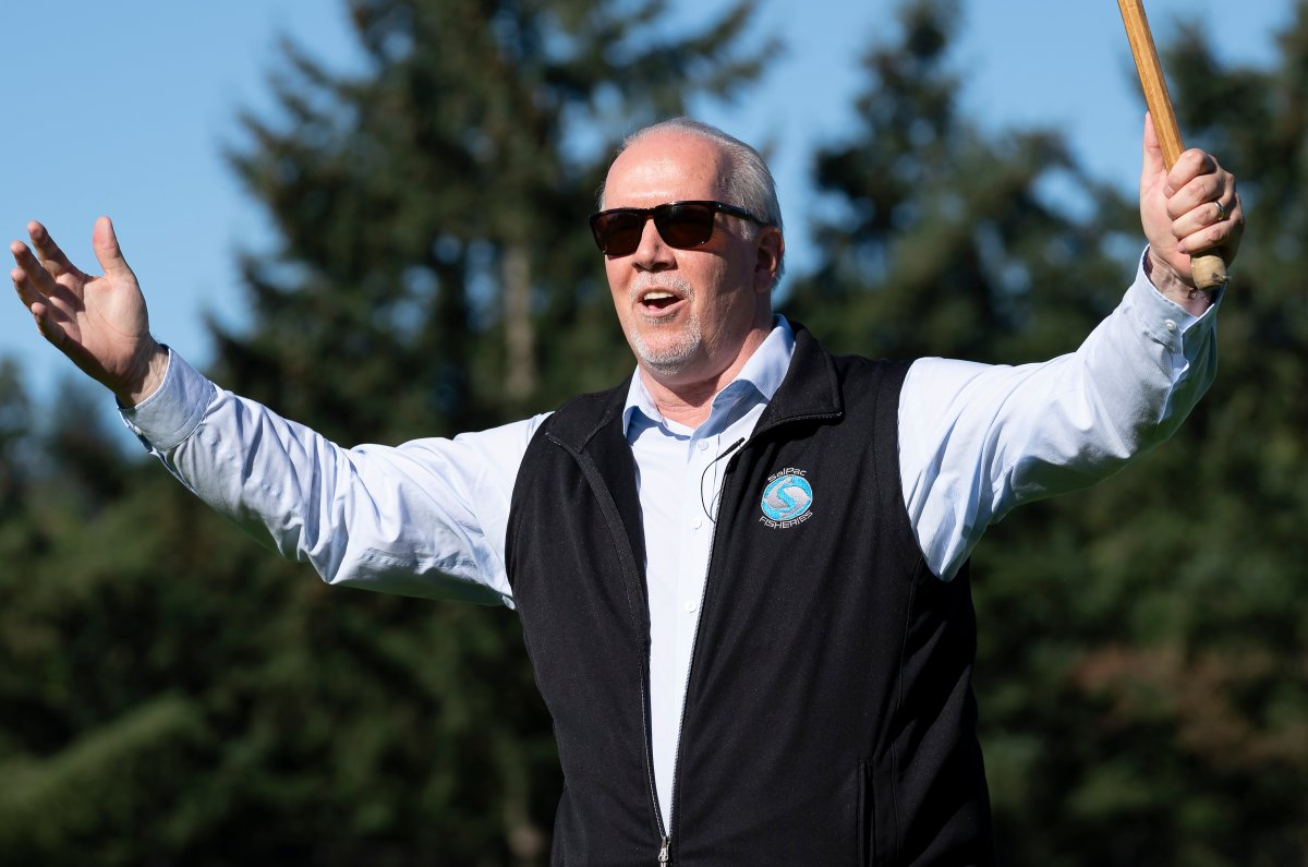 NDP Leader John Horgan reacts to a shot as he plays lacrosse as he meets the local candidate during an election campaign stop in Coquitlam, B.C. Tuesday, September 29, 2020.  THE CANADIAN PRESS/Jonathan Hayward.