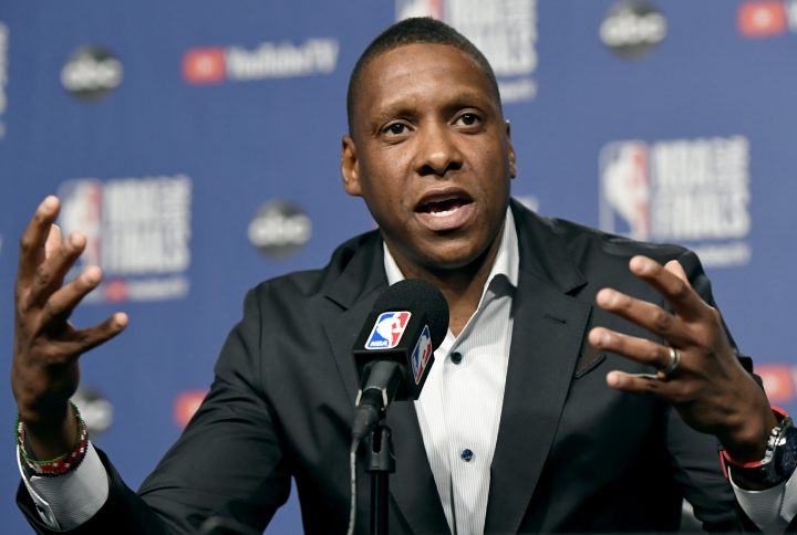Masai Ujiri speaks to media during an availability in Toronto on Wednesday, May 29, 2019.