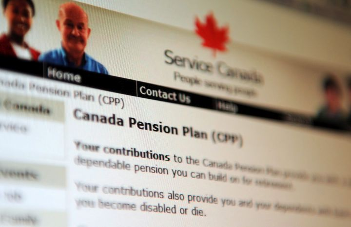 Information regarding the Canadian Pension Plan is displayed on the Service Canada website in Ottawa on Tuesday, Jan. 31, 2012.