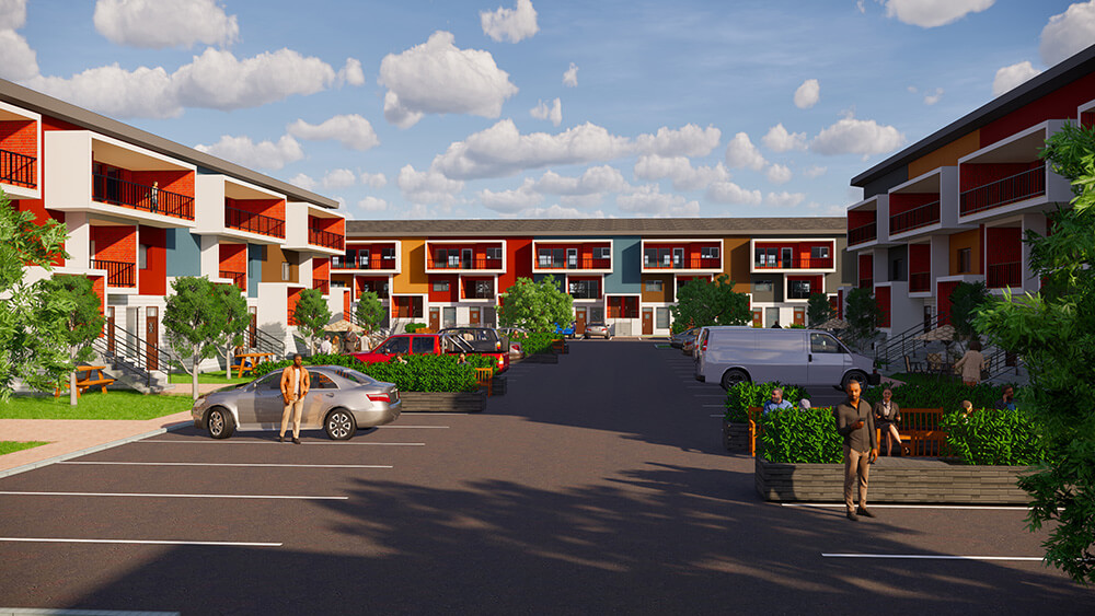 A rending of the affordable housing project proposed for Saskatoon's far east end.
