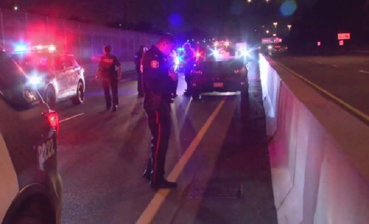The SUV was found at the side of the QEW near Hurontario Street in Mississauga.
