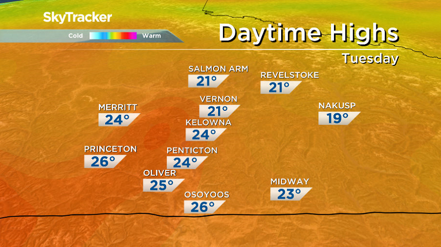 Daytime highs return to the mid-20s to finish September.