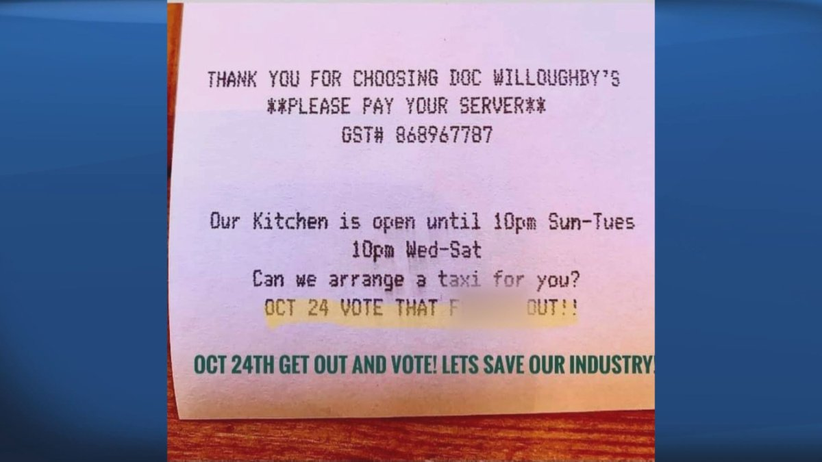 A Kelowna, B.C., pub owner made  a strong political statement on receipts at his establishment ahead of the fall provincial election.