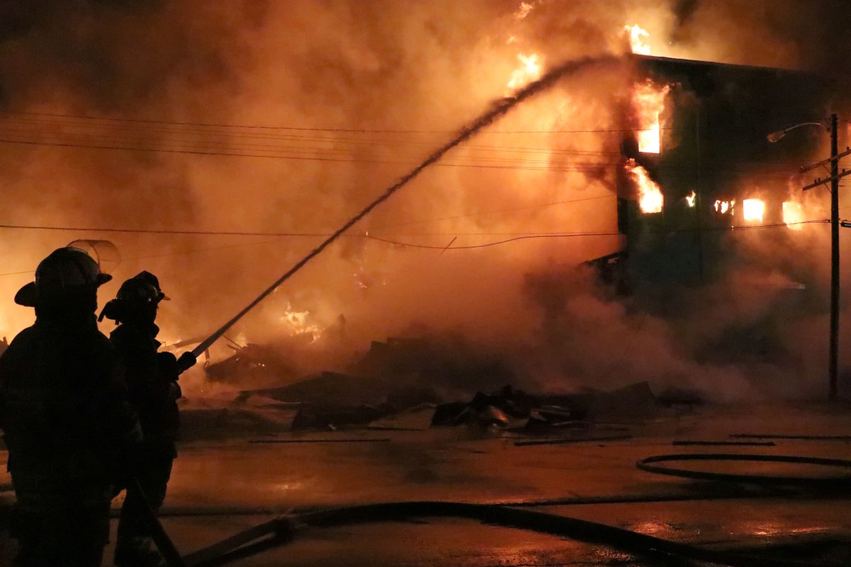 Officials say 105 firefighters battled a blaze in the  Amherst, N.S., on Sept. 19, 2020.