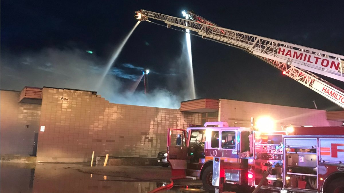 Hamilton Fire battle a blaze at an commercial complex on Wednesday Sept. 30, 2020.