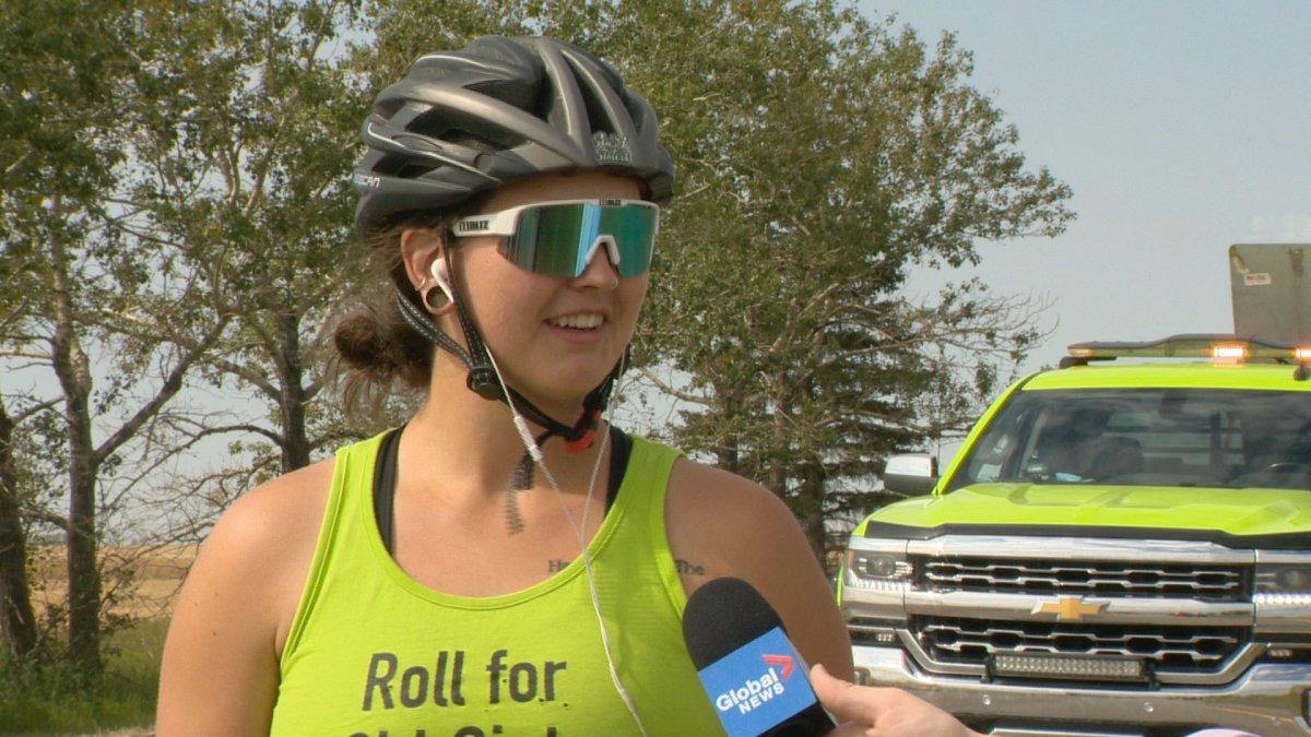 Morgan Waldo and her fellow SaSki Sisters ski coaches rollerbladed from Moose Jaw to Regina on Saturday to raise money for their program.