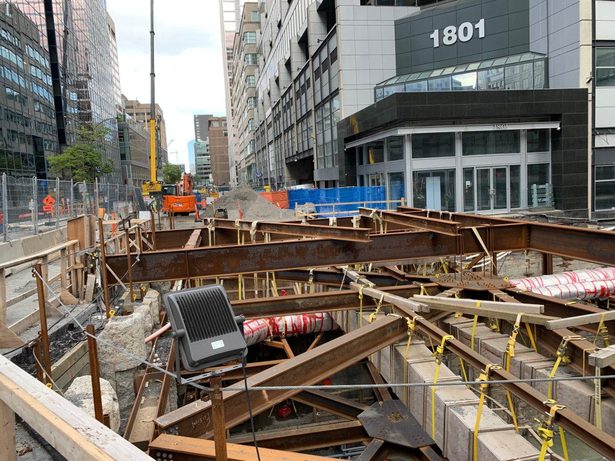 REM construction for a new McGill station in downtown Montreal