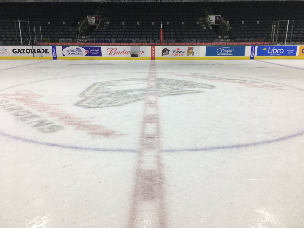 Centre ice at Budweiser Gardens.