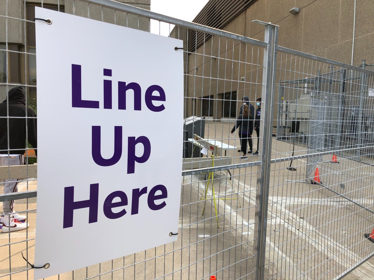 The check-in centre for Western University's mobile COVID-19 testing trailer, which has seen a surge in demand amid growing cases.