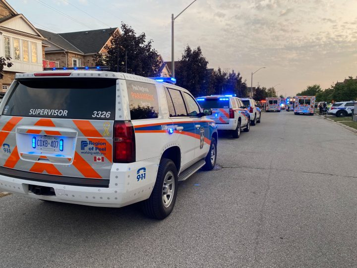 Emergency crews respond to a hazardous materials call in Mississauga Saturday evening.