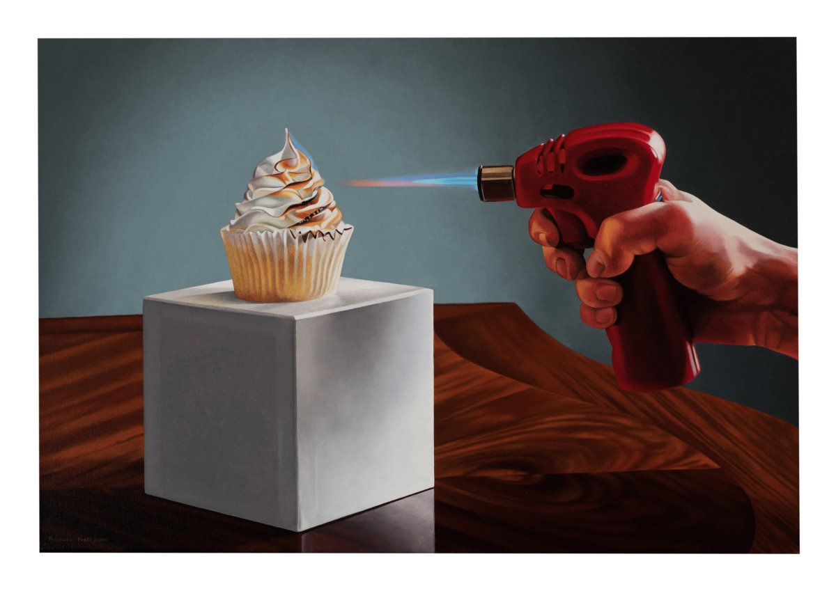 "A painting by Barbara Pratt titled ""Torching the Cake"" is shown in this handout photo. Barbara Pratt painted the works in her new exhibition to honour her mother, Mary Pratt. THE CANADIAN PRESS/HO, Barbara Pratt."