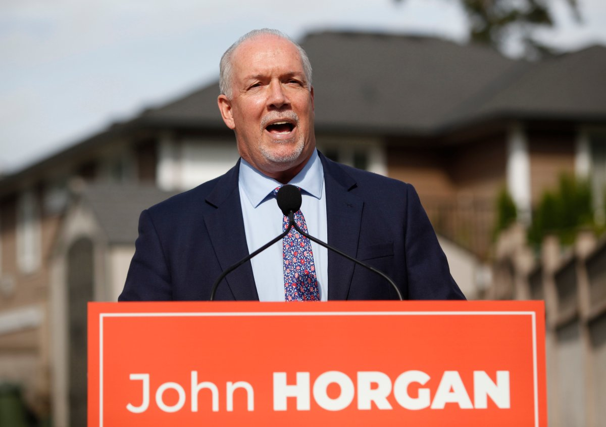 BC NDP Leader John Horgan announces there will be a fall election as he speaks during a press conference in Langford, B.C., on Monday, Sept. 21, 2020.