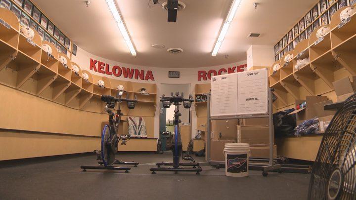 The Kelowna Rockets dressing room sits empty.
