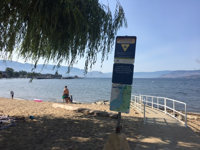 A swimming advisory issued Saturday for Rotary Beach in Kelowna has been lifted.