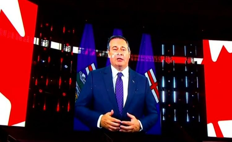 Premier Jason Kenney shared a virtual message for prospective travelers on Alberta Day Tuesday, ahead of the Canucks - Golden Knights game at Rogers Place.