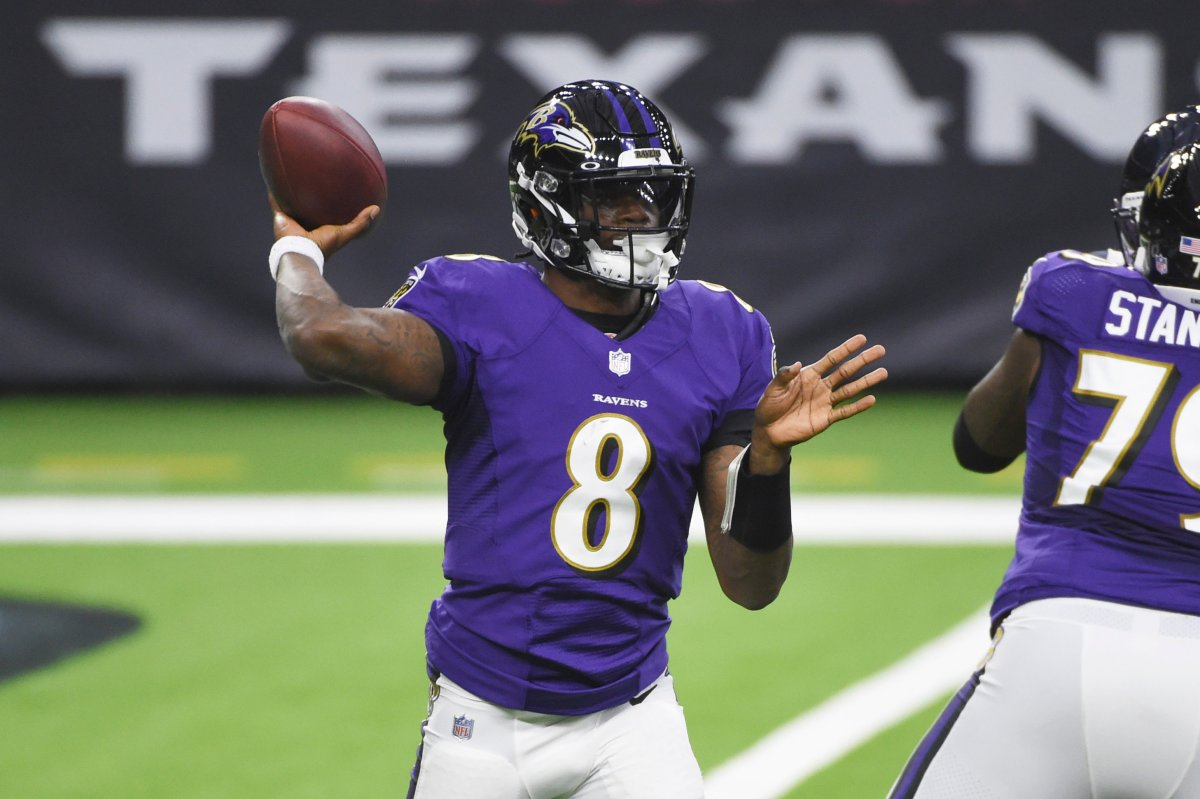 Baltimore Ravens quarterback Lamar Jackson (8) throws against the Houston Texans during the first half of an NFL football game Sunday, Sept. 20, 2020, in Houston.