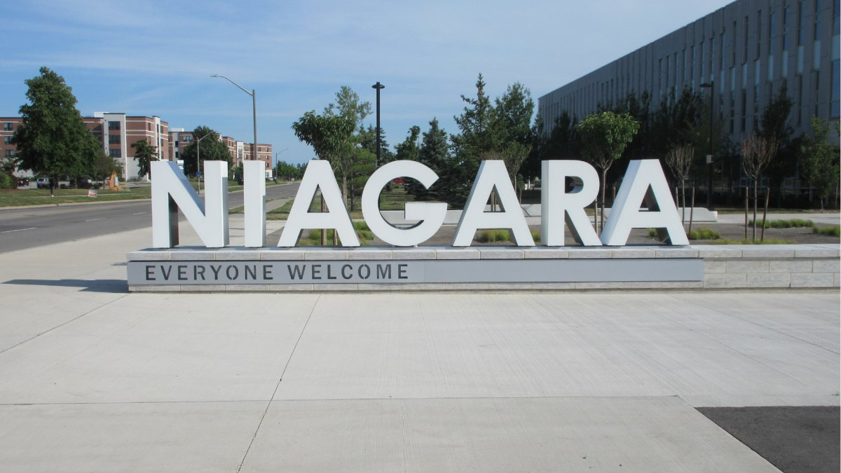 A photo of Niagara's 'welcome everyone' sign out front of the region's council offices on Sir Isaac Brock Way in Thorold, Ontario.